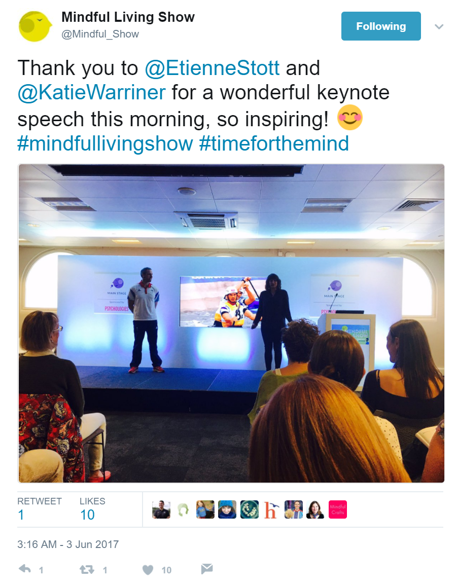 mindfulness help life Mindful Living Show Etienne Stott Katie Warriner keynote opening speech mindfulness can help an athlete win gold