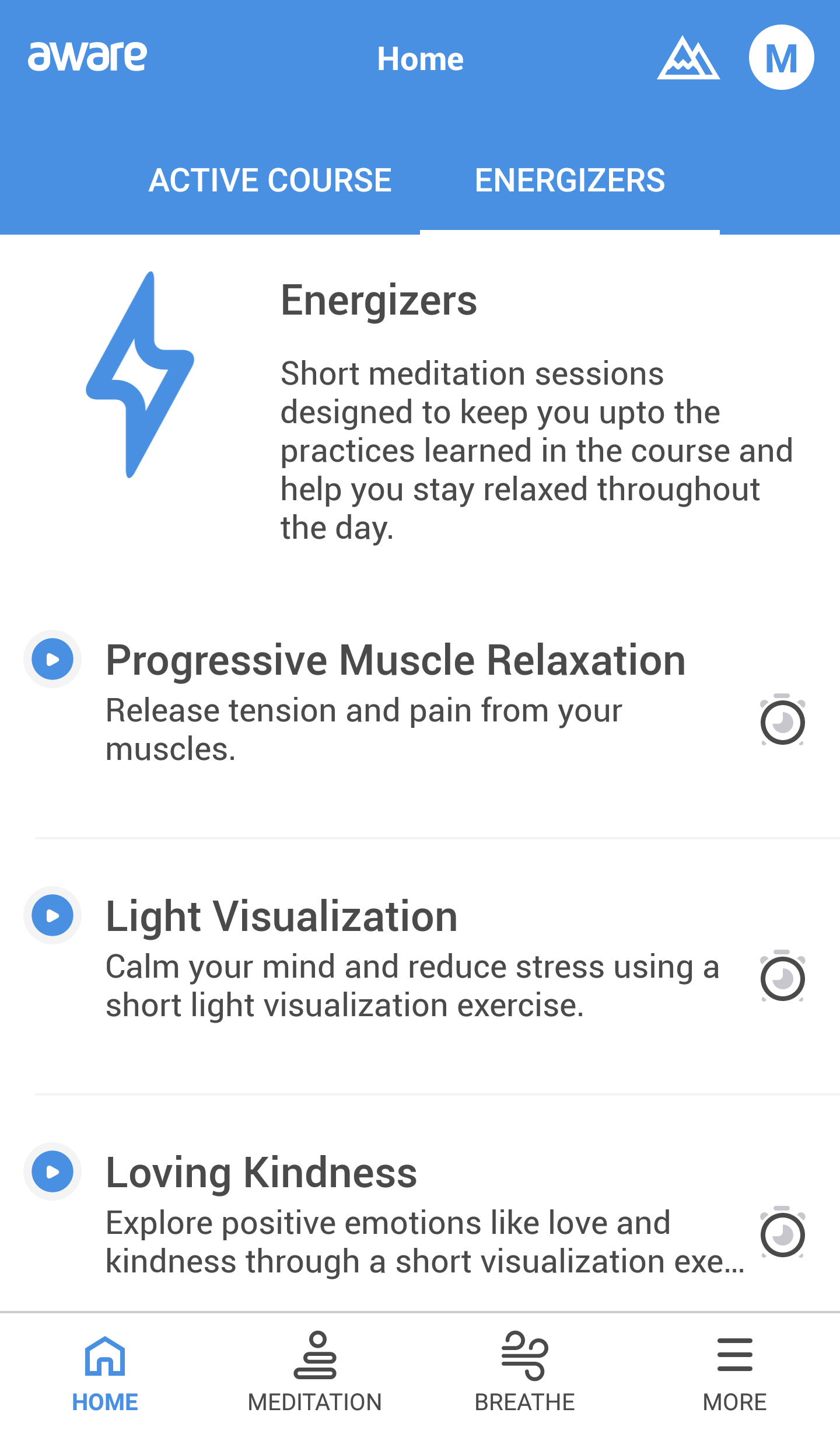 Screenshot of Aware meditation app - Energisers