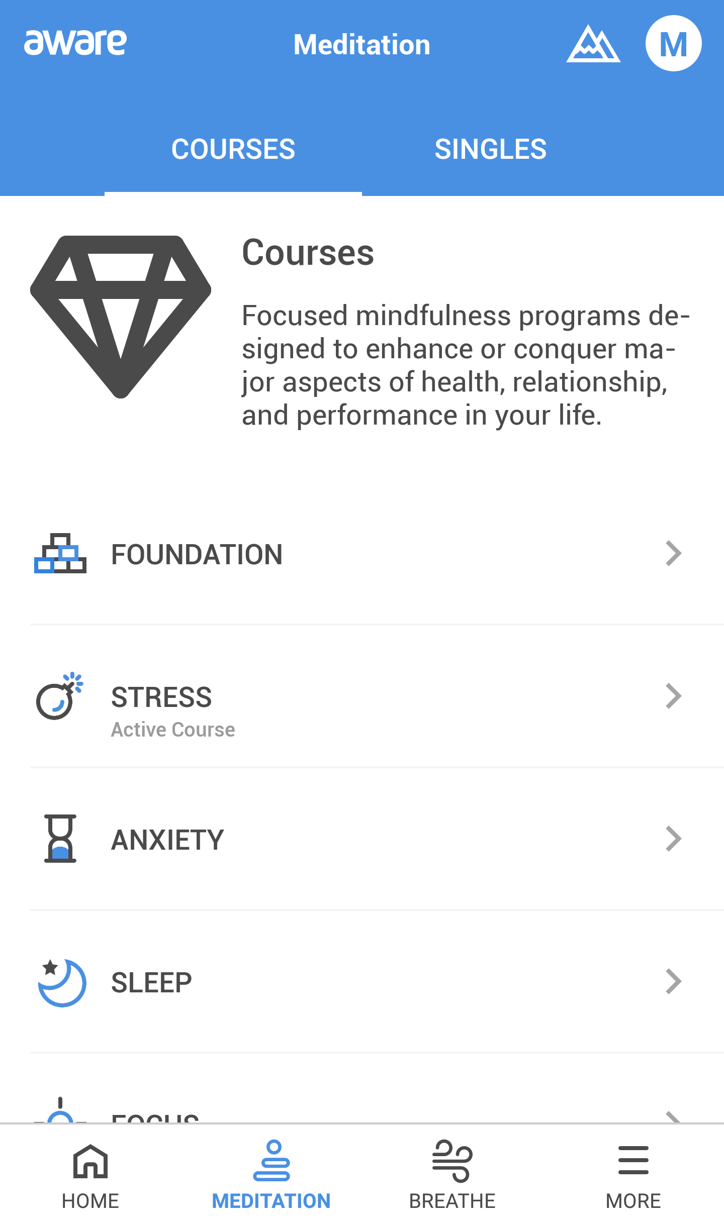 Screenshot of the Aware meditation app - courses